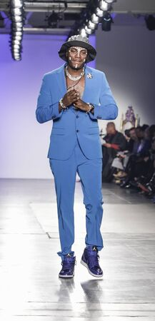 New York, NY, USA - February 5, 2020: Young Paris walks Blue Jacket runway in support of mens health and prostate cancer awareness at Pier 59 Studios , Manhattan