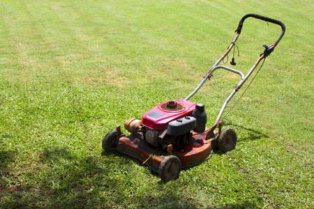 Lawn mower in the garden photo