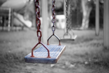 Swings, childrens playground.