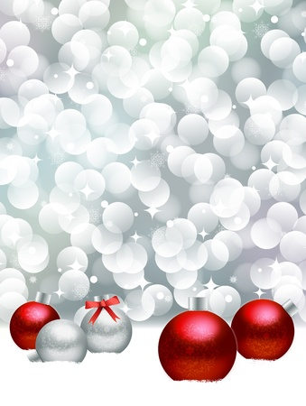 Christmas ball on abstract light background.