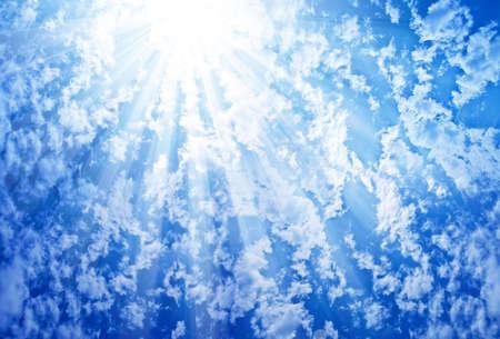 Blue Sky Sun Clouds Stock Photo