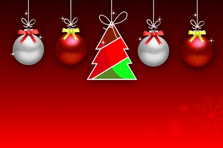 Abstract background with Christmas tree balls and colored lights on Christmas. Happy New Year!