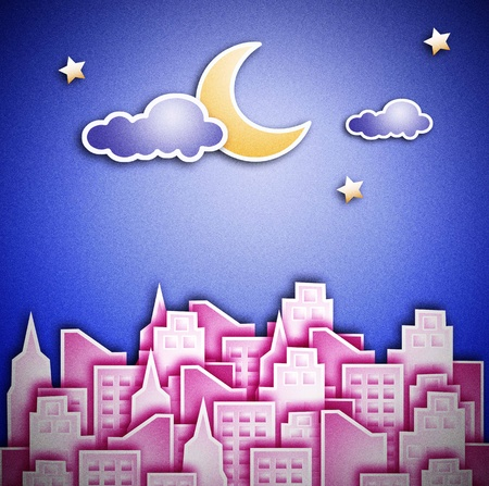 silently: City at night. The crescent moon and star. Stock Photo