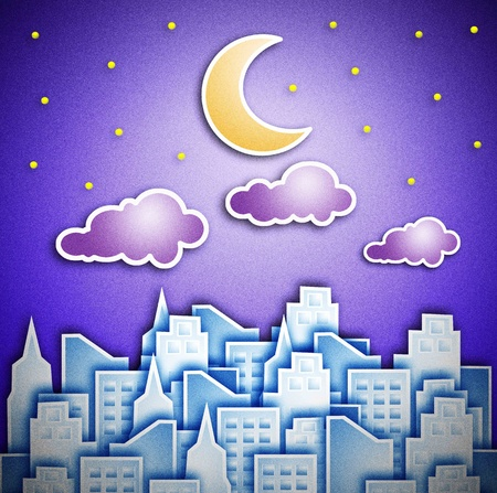 crescent moon: City at night. The crescent moon and star. Stock Photo
