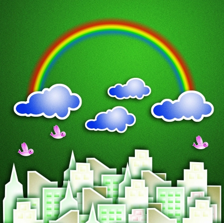 Modern city in good weather. Seen a beautiful rainbow in the sky. photo