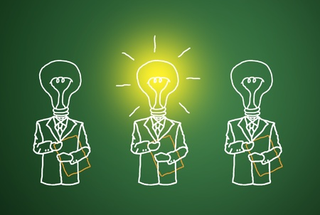 The lamp is lit, the talent and ingenuity of business competition. Stock Photo - 11942184