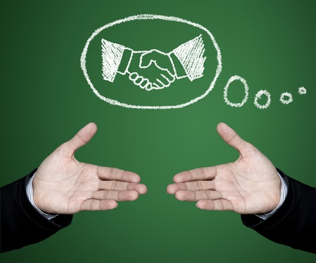 Concept of business people who have a need for cooperation in joint venture and sales. Stock Photo