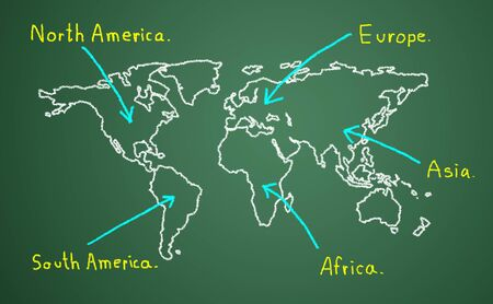 Map of the continent. Contact the business goals. photo