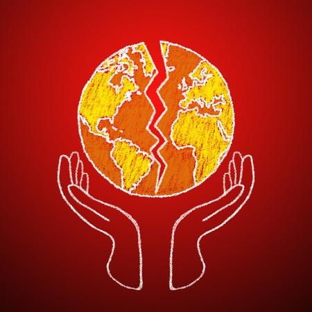 el mundo en tus manos: Me encanta la idea de dibujar el mundo. El mundo está en tus manos. Foto de archivo