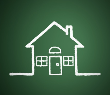 Homes that are written on the blackboard. Idea to buy a house. photo
