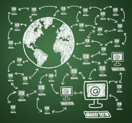 sozialarbeit: Anschlie�en des Computers mit dem Internet. Join the online community. Lizenzfreie Bilder