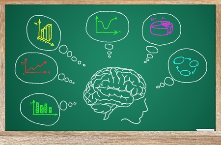 open brain: Draw a plan on the board. The goal in business. Stock Photo