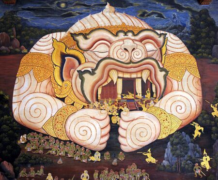 Wall painting at Grand Palace, Bangkok, Thailand. The painting is about Ramayana epic story. Stock Photo - 12244644