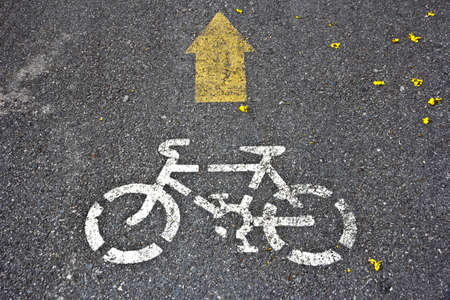 an image of a bike road sign and arrow Stock Photo - 12710338
