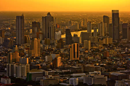 Modern skyscraper city streets in the evening,Bangkok,Thailand Stock Photo - 12710361