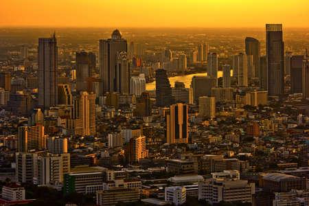 Modern skyscraper city streets in the evening,Bangkok,Thailand Stock Photo - 12710361
