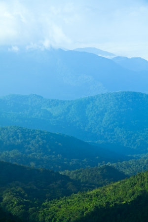 chiang mai: The mountains are green, white haze in the north of Thailand.