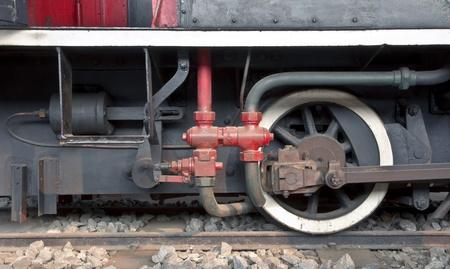 Detail of one wheel of a vintage steam train locomotive photo