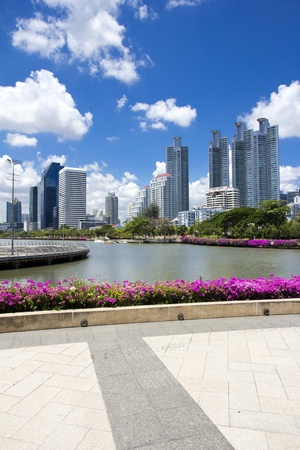 Major cities, rivers, roads and gardens buildings in Bangkok, Thailand. photo