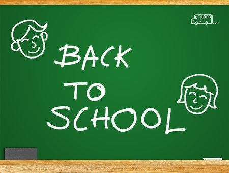 About the study Students return to school  A message  BACK TO SCHOOL  on the blackboard  photo