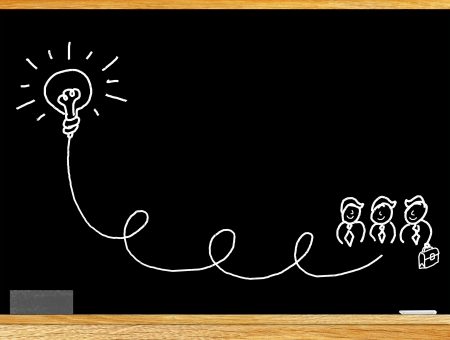 content marketing: The business idea is to find answers  Such as fluorescent lights  All this is written on the blackboard