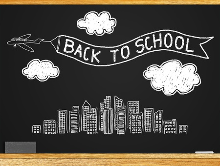 About the study Students return to school  A message  BACK TO SCHOOL  on the blackboard Stock Photo - 13348917
