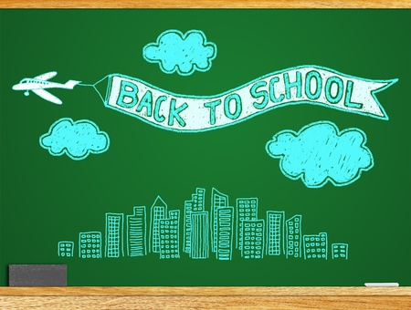 About the study Students return to school  A message  BACK TO SCHOOL  on the blackboard Stock Photo - 13348918