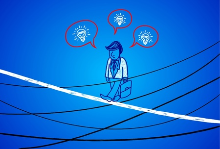 looking ahead: Business people walking on the yarn  The walk along the high-risk business