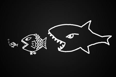 大きな魚を食べると描かれた手で作られた小さな概念的なイメージ。