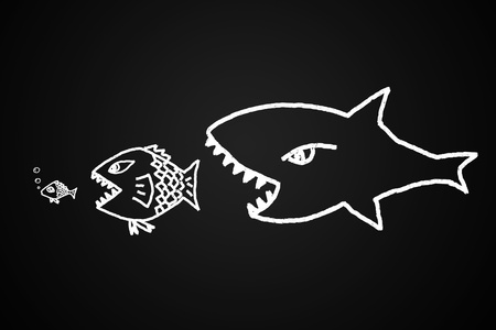 big fish eats the small Conceptual image made with drawn by hand.