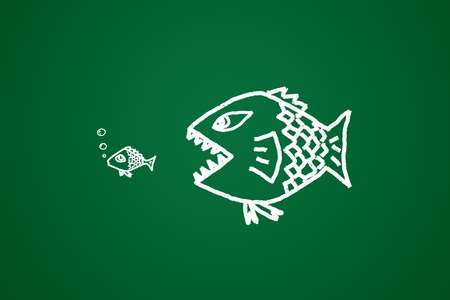 absorption: big fish eats the small Conceptual image made with drawn by hand.