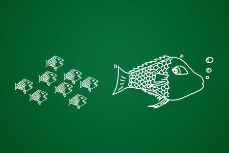 challenger: small fish eats the big Conceptual image made with drawn by hand. Stock Photo