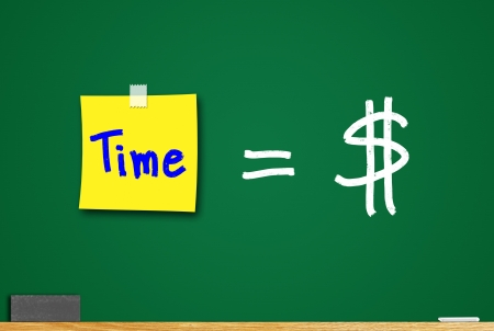 Concept of time and money. Ideas about the operation of the business. photo