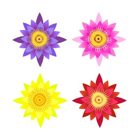 meditation isolated white: set of illustration of lotus flower Illustration