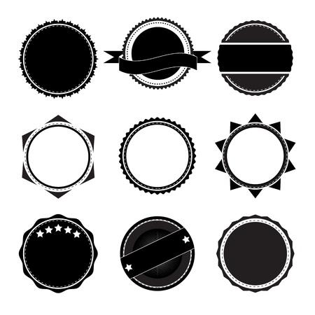 ruban noir: Collection de l'étiquette pour assurer la qualité et le design haut de gamme avec un style rétro. Illustration