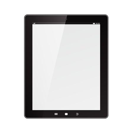 Tablet computer  Black frame vector tablet pc with white screen    Object isolated of background   Stock Vector - 14419028