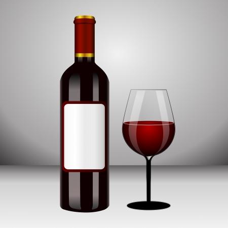 weingläser: Flasche mit Rotwein und Glas und Trauben Illustration
