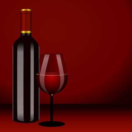 bottle with red wine and glass and grapes Vector