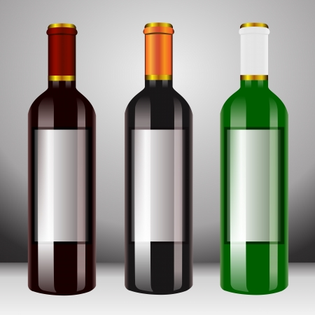 white grape: A bottle of wine, three bottles of white wine and red wine