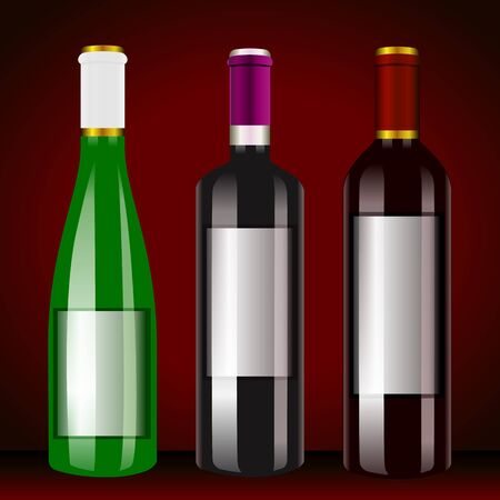 white riesling grape: A bottle of wine, three bottles of white wine and red wine