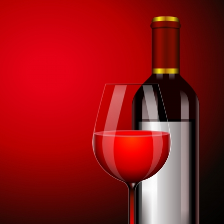 red wine in the glass and bottle in a dark tone Vector