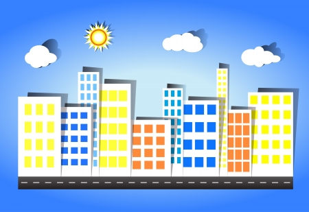 The city has many buildings in the daytime Stock Vector - 14598180