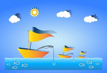 deep sea fishing: Fishermen fishing using fishing rod Betty
