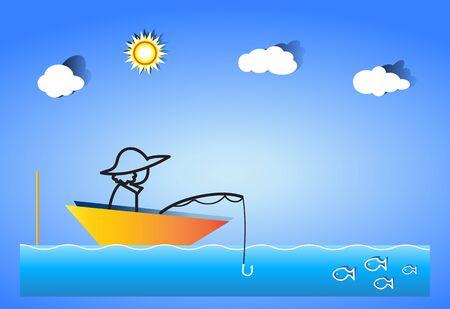 Fishermen fishing using fishing rod Betty Stock Vector - 14598169