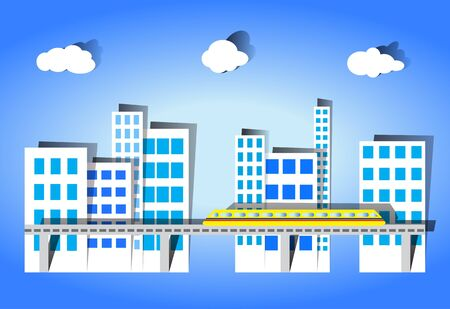 Trains running in a city with many buildings  Vector