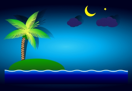 Coconut deserted island in the sea waves  Vector