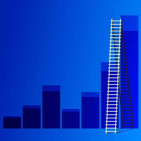 ladder of success: The  ladder to take to reach the target  Concept success story of the business