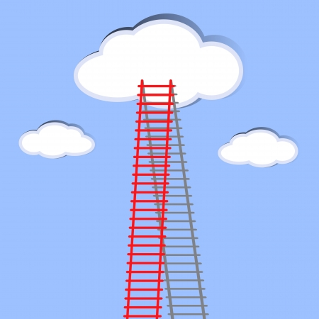The  ladder to take to reach the target  Concept success story of the business  Vector