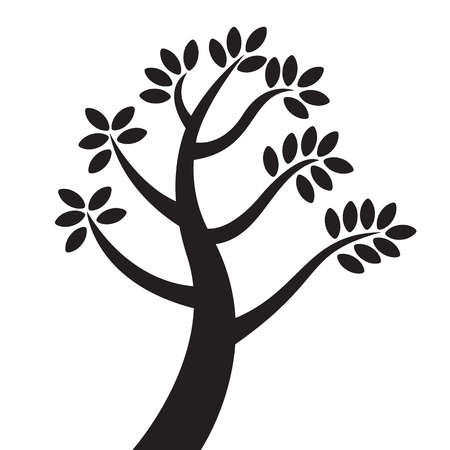 new life: black tree silhouette isolated on white background