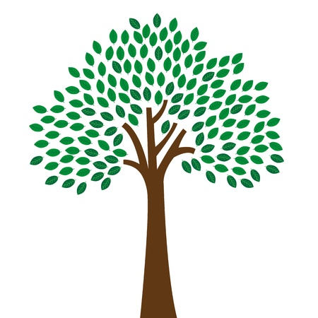 Abstract Tree, On Green Background, Illustration Illustration